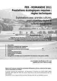 PER - ROMANDIE 2011 Prestations écologiques requises ... - Agridea
