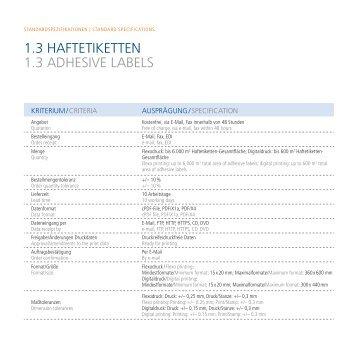 1.3 HAFTETIKETTEN 1.3 ADHESIVE LABELS