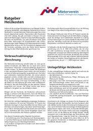 Ratgeber Heizkosten - Mieterverein Bochum
