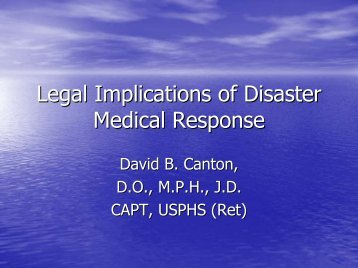 Legal Implications of Disaster Medical Response - The 2012 ...
