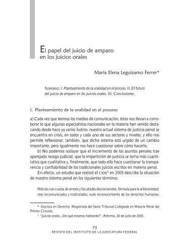 El papel del juicio de amparo en los juicios orales - Instituto de la ...