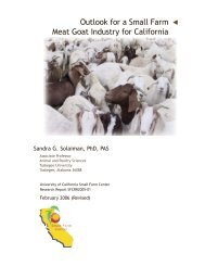 Outlook for a Small Farm Meat Goat Industry for California