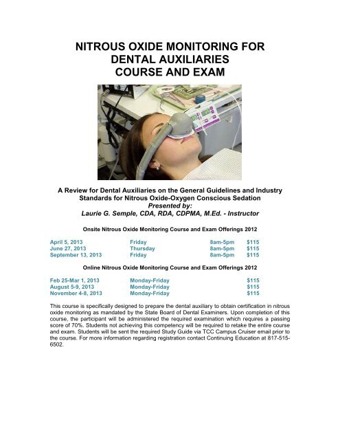 nitrous oxide monitoring for - Texas State Board of Dental