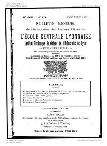 Revue Technica, année 1932, numéro 269 - Histoire de l'École ...