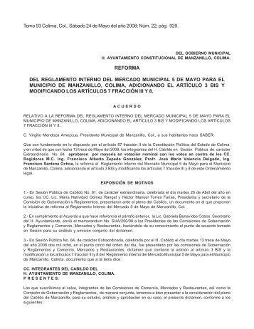 REFORMA DEL REGLAMENTO INTERNO DEL MERCADO ...