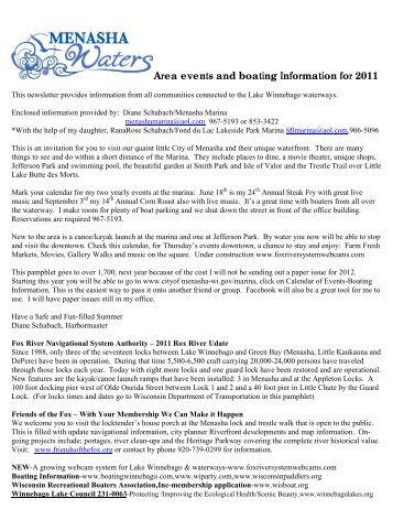 2011 Summer Calendar of Events – Welcome to All Boaters