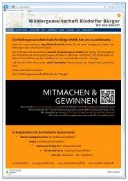 Der Flyer zum Gewinnspiel - Wählergemeinschaft Kisdorfer Bürger