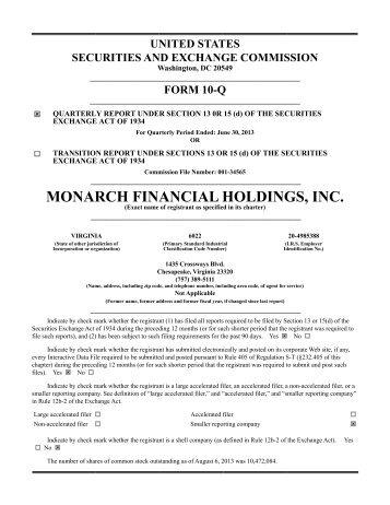 6/30/13 Q2 10Q - Monarch Bank