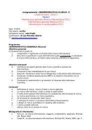 Insegnamento: INFERMIERISTICA CLINICA II - Medicina e Chirurgia