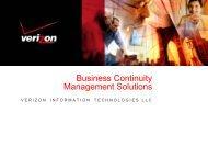 Business Continuity Management Solutions - Verizon