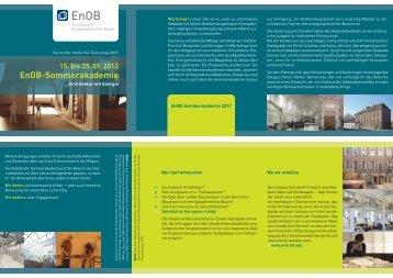 15. bis 25. 09. 2012 EnOB-Sommerakademie - Fakultät für Architektur