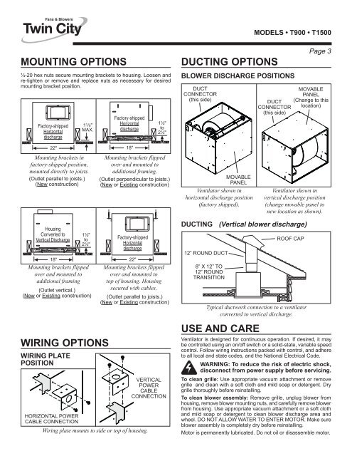 MODELS • T900 • T1500 | Twin City Fan Wiring Diagram |  | Yumpu