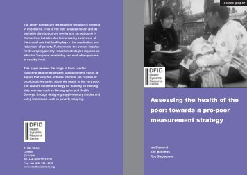 Assessing the health of the poor: towards a pro-poor measurement ...