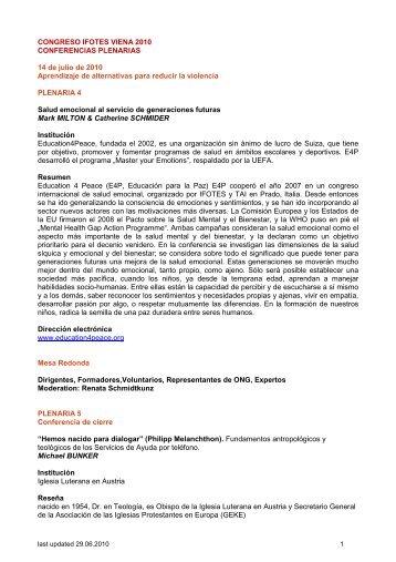CONGRESO IFOTES VIENA 2010 CONFERENCIAS PLENARIAS ...