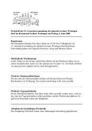 Protokoll 11. Generalversammlung vom 05.06.2009 - Quartierverein ...