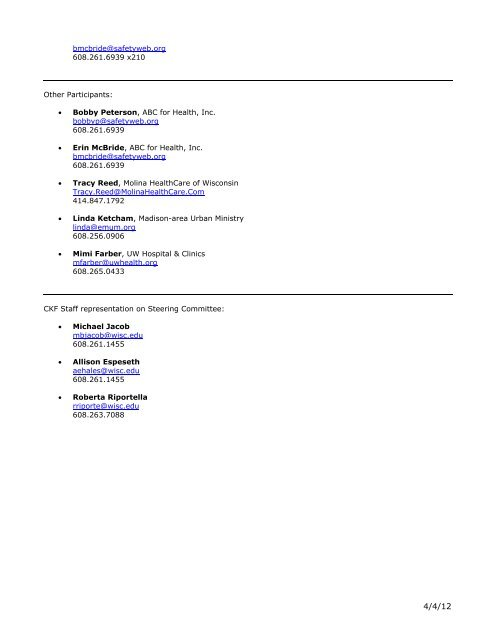 CKF Steering Committee Members and Contact Information