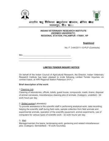 Invitation of tender for the security services job work contract invitation of tender for contractual work at ivri palampur indian stopboris Choice Image