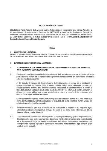 BASES LICITACION PUBLICA 13-2005 - Infonavit