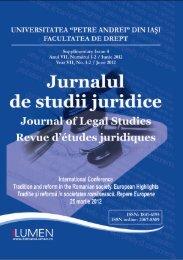 Jurnalul de studii juridice supliment 4-2012 - Editura Lumen