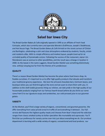 Salad bar Iowa City
