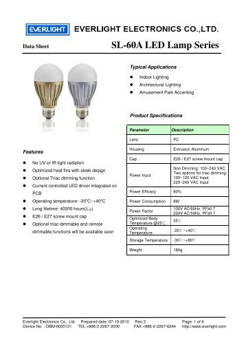 SL-60A LED Lamp Series - REGO-Lighting GmbH