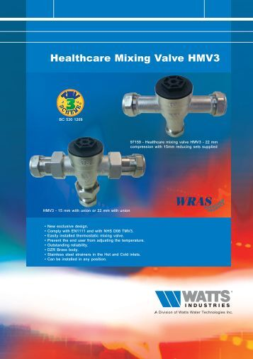 Healthcare Mixing Valve HMV3 - Watts Industries