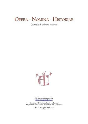 scarica il pdf dell'intero volume - Opera Nomina Historiae - Scuola ...