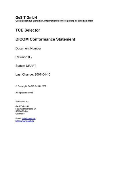 TCE Selector DICOM Conformance Statement
