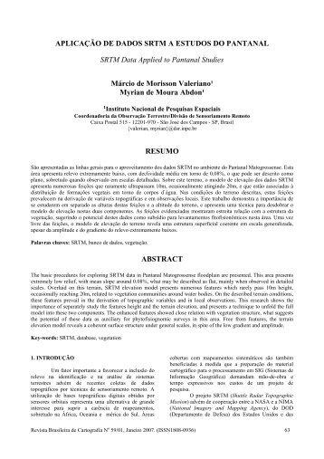 Aplicação de dados SRTM a estudos do ... - mtc-m17:80 - Inpe