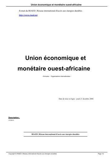 Union économique et monétaire ouest-africaine - RIAED