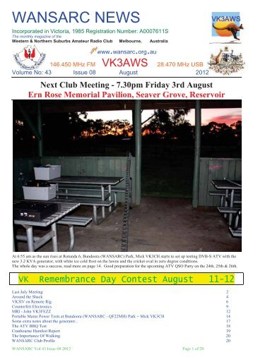 August - Western & Northern Suburbs Amateur Radio Club