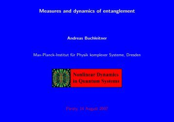 Measures and dynamics of entanglement in Quantum ... - UFF