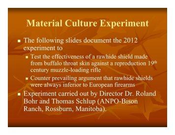 Material Culture Experiment