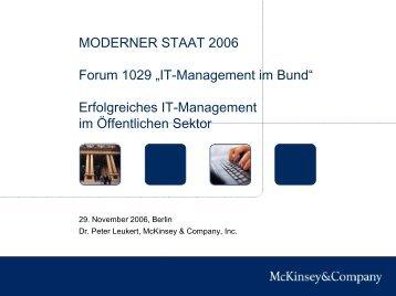 """MODERNER STAAT 2006 Forum 1029 """"IT-Management im Bund ..."""