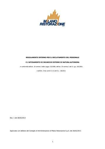 Regolamento interno per il reclutamento del personale e l ...