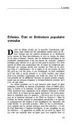 Ethnies, Etat et littérature populaire yorouba - Politique Africaine