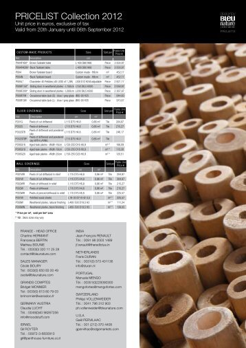 PRICELIST Collection 2012 - bei DESIGNERS-home