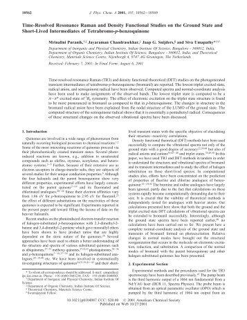 Time-Resolved Resonance Raman and Density Functional Studies ...