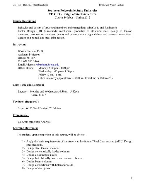 Design of Steel Structures - SPSU Faculty - Southern