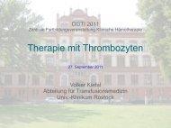 Anwendung von Thrombozyten in der klinischen Hämotherapie