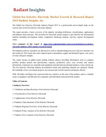Global Ion Selective Electrode Market Growth & Research Report 2015 Radiant Insights, Inc.