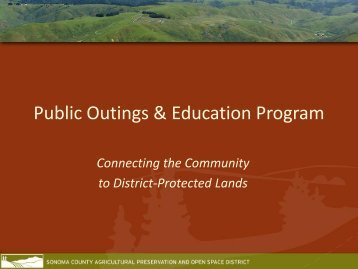 Public Outings & Education Program - Sonoma County Agricultural ...