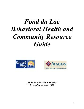 Fond du Lac Behavioral Health and Community Resource Guide