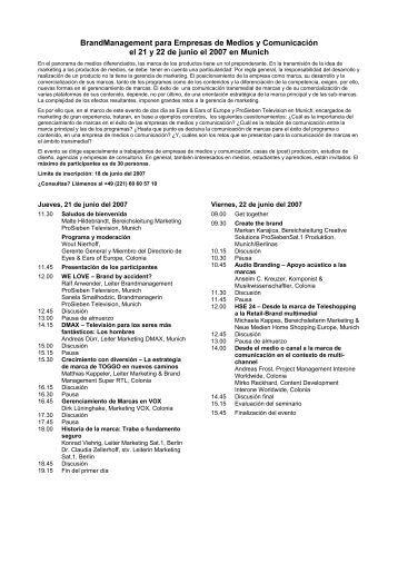 BrandManagement para Empresas de Medios y ... - EEOFE