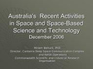 Recent Developments in Australia's Space Activities - APRSAF
