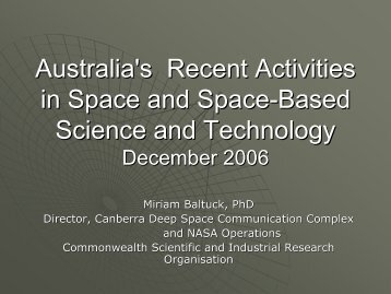 Recent Developments in Australia's Space Activities - APRSAF