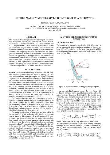 Hidden Markov Models applied onto Gait Classification - svelte