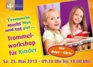 Trommel- workshop für Kinder - Geist und Sendung