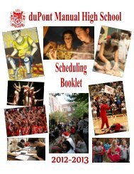 13 Scheduling Booklet - duPont Manual High School