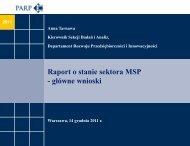 Raport o stanie sektora MSP - główne wnioski - Polska Agencja ...
